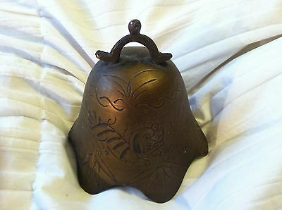 """Vintage Asian Brass / Bronze Bell Without Hammer Etched 3 7/8"""" Tall + Free Bell!"""
