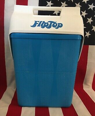 Vintage Retro Flip Top Cooler blue with White lid TALL 60s or 70s beach travel