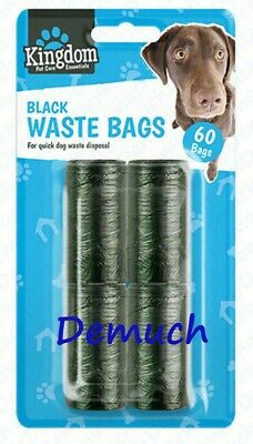 New 60 Pack Pet BLACK WASTE BAGS Dog Cat Poo Disposal Scoop Doggy Poop Bag UK ✔