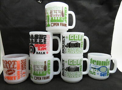 Lot of 7 Vintage Rare SPORT Themed Milk Glass GLASBAKE CUPS / MUGS