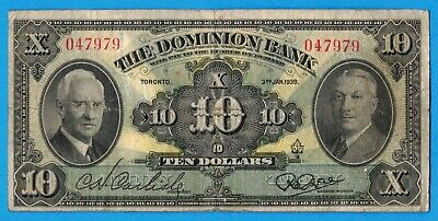 $10 1938 The Dominion Bank Canada Chartered Note - Very Good+