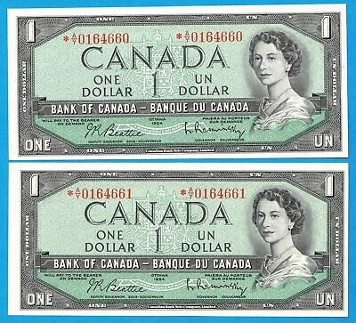 2 Consecutive $1 1954 Bank of Canada Notes *A/Y Replacement - $220 - Ch UNC