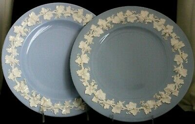 "Wedgwood Cream On Lavender Pair Of 10 1/4"" Dinner Plates Made In England"