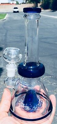 """Hookah Water Pipe 8"""" Heavy Glass Tobacco Bong w/ Conical Percolator Assorted"""