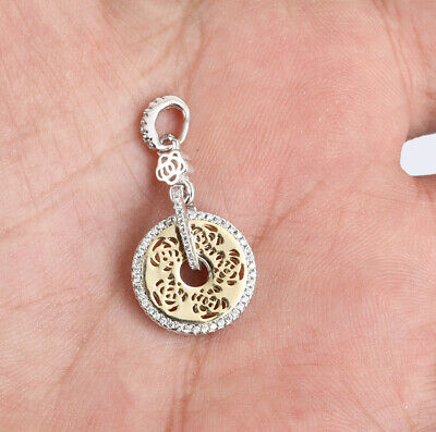 Circle Topaz .925 Solid Sterling Silver Pendant #14045