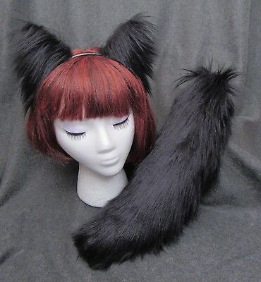 """Black Ears & Tail 13/17"""" SET, Ears or Tail; Long Realistic Faux Fur, Wolf Cat"""