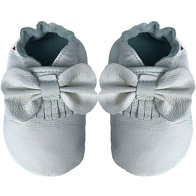 carozoo bow fringe white soft sole leather slippers up to 2 years old