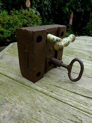 Antique very heavy safe door lock with key working order, collector