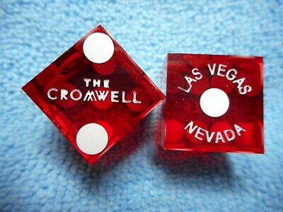 Pair of CROMWELL LV Casino Dice, Clear Red, Matching #s, Uncancelled