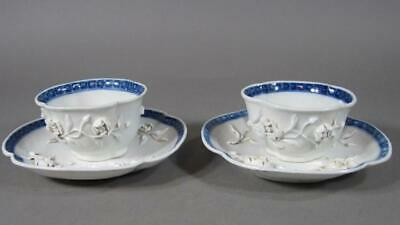 Nice Pr Antique Chinese Blue & White Porcelain Cups & Saucers, 18C, Butterflies