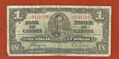 1937 King George VI One Dollar Bank Note (Well Circulated) E395