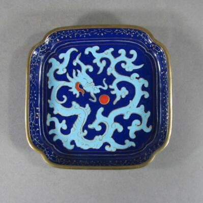 Fine Antique Chinese Enamel Dish, Dragon, Pearl, 19C, Better, Older Than Usual