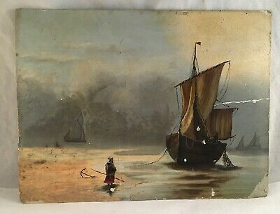 Antique Victorian Oil On Board Art Painting Dutch Harbor Boat Ship Maritime