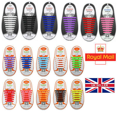 Elastic No Tie Shoelaces Silicone Easy Shoe Laces Trainers Shoes Adult Kids NEW✅