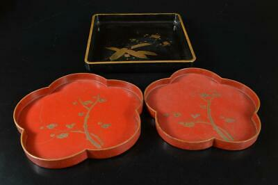 S3595: Japanese Lacquer ware WOODEN TRAY/Ornamental plate 3pcs Tea Ceremony