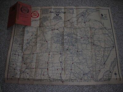 Rand McNally Official 1923 Auto Trails Map District 8 Buick Dealership