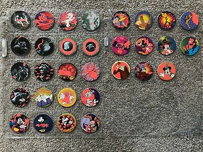 Glo Caps Red Glow Variation Lot of 31 Mickey Mouse Casper 101 Dalmation Simpsons