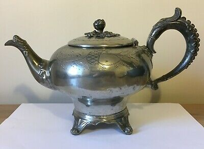 Antique Victorian Silver Plated Chased Footed Tea Pot