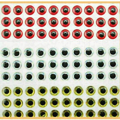 100PCS 3D Fish Eyes Holographic Lure Eyes for FlyTying Jigs Crafts Dolls 8m U6O4