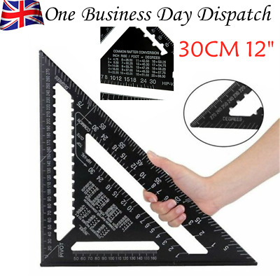 12Inch ROOFING SPEED SQUARE ALUMINIUM RAFTER ANGLE FRAME MEASURE TRIANGLE GUIDE