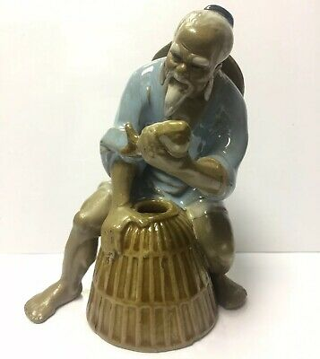 VINTAGE Chinese Fisherman Figurine Porcelain Ceramic Pottery Ornament China