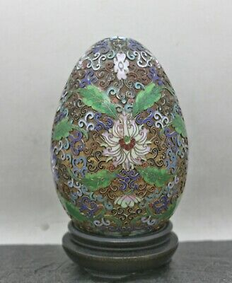 Large Vintage Chinese Beijing Brass Cloisonne Display Egg Wooden Stand