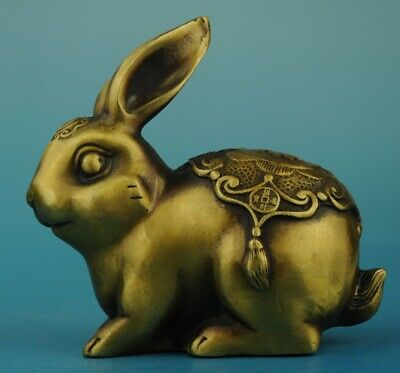 Chinese old Hand Made Copper Casting rabbit statue Collect