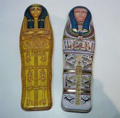 Two Pencil Tins/Cases in Ancient Egyptian Mummy Sarcophagus Shape