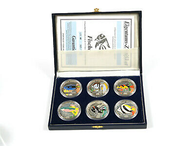 "Set - 6x 1 Oz Feinsilber - 500 Won - Korea 1996 - ""Fauna of Asia"" Farbmünzen"