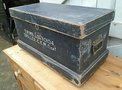 2' Vintage Black Painted Chest Tool Toy Storage Box Craft Hobby Trunk Side Table