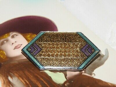 Vintage 1980's Deco Revival French Style Enamel Geometric Brooch