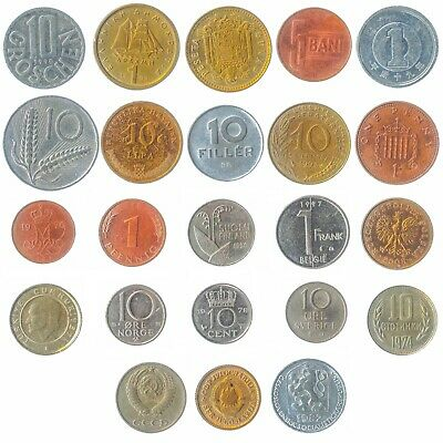 Set Of 23 Coins From 23 Different Countries Coins Lot, Old Collectible Coins