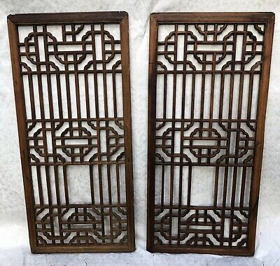 Beautiful Pair Of Antique Chinese Asian Oriental Wooden Window Screens Panels