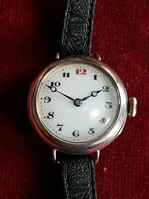 1917 Antique WW1 Officers .925 Solid Silver LANGENDORF 2 Mechanical Trench Watch