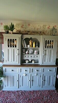 Solid Pine Farmhouse Kitchen Dresser, display cabinet. Cupboard.Larder.