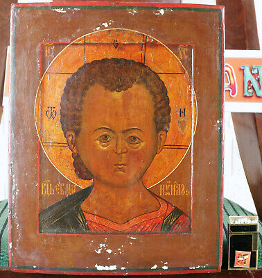 RUSSISCHE IKONE ANTIK JESUS CHRISTUS EMMANUEL old russian icon Christ Immanuel