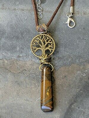 Wire wrapped Tigers Eye Tree Of Life Pendant Necklace 13-in Brown
