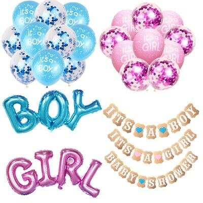 It's A Girl Boy Baby Shower balloons Bunting Banner Party Garland Party decor
