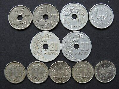 GREECE (KINGDOM) - 11 Various Lepta coins  1912-1973