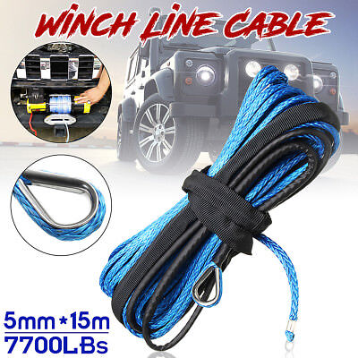 3/16'' x 50' 7700LBs Synthetic Winch Line Cable Rope W/ Sheath ATV UTV Blue 🔥