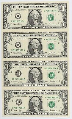 Uncut sheet $1.00 Bill/'s Federal Reserve Note Sheet Atlanta 4 Subject