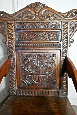 17th Century Carved Oak Wainscot Chair