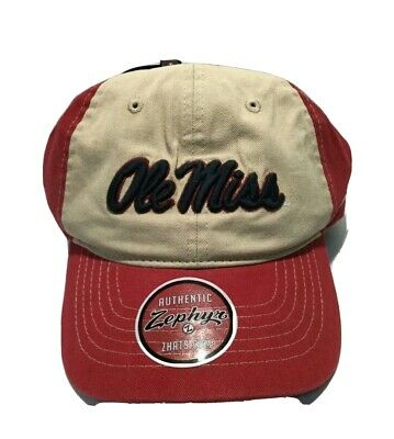 size 40 bc22e 383f3 NEW Ole Miss Rebels Adjustable - Cap Hat - Zephyr - Red   Tan -
