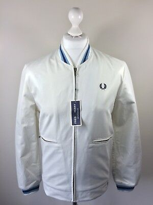 c669332ee FRED PERRY PIQUE Bomber Jacket Blue Granite Large Bnwt - £90.00 ...