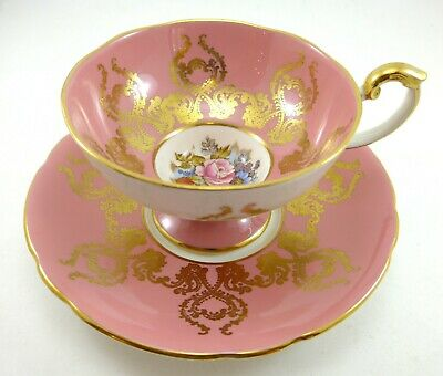 Beautiful Pink and Gold Aynsley Tea Cup and Saucer Flowers
