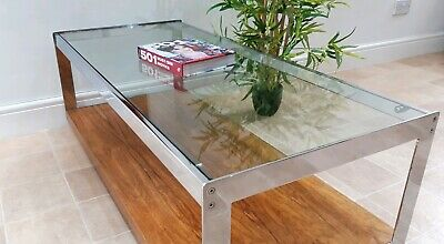 Vintage Merrow Associates Coffee Table Rosewood Chrome Harrods Heal's 1970s