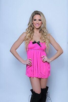 Hot Pink Babydoll Lingerie Mesh Sheer Satin Bow Ruffles Ruched Valentines BD8015
