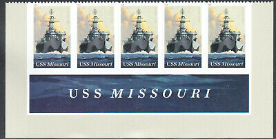 SC#5392 - 2019 Forever - USS Missouri Strip of 5 with Header MNH