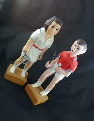 """Pair Hand Carved Wood Romer Style Tennis Players Man Woman 12"""" Figurine Italy?"""