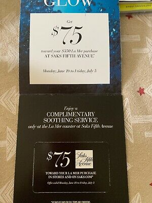 Saks Fifth Avenue LA MER $75 Off $350 Purchase Coupon In Store/Online Exp 7/5/19